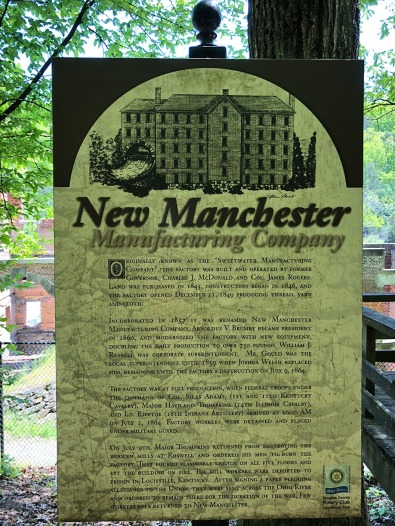 Info sign for New Manchester Manufacturing Company at ruins.