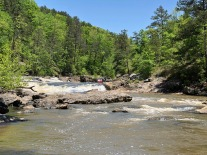 View upstream of kayakers negotiating the rapids.