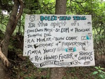 Concept marker for Doll's Head Trail and foot bridge.